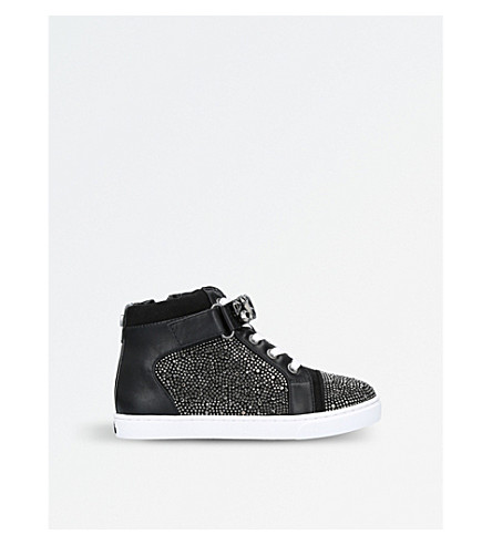 MINI MISS KG Jewel embellished high-top trainers 7-10 years (Black