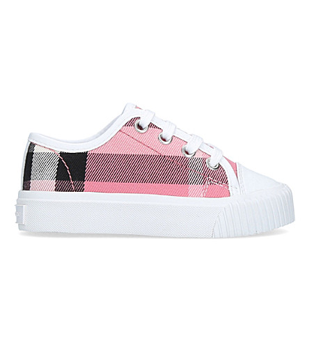 BURBERRY Nova check canvas and leather trainers 3-5 years (Pink