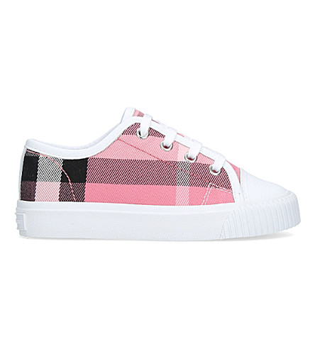 BURBERRY Nova check canvas and leather trainers 4-9 years (Pink