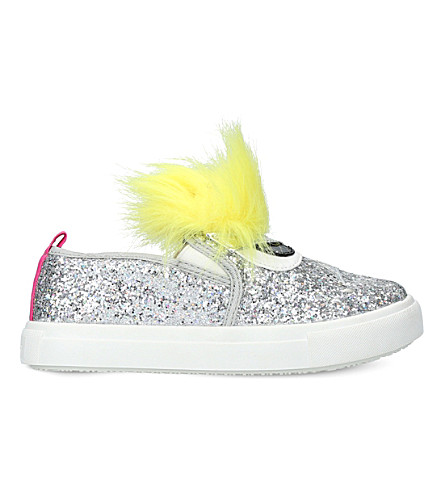 MINI MISS KG Rockstar embellished slip-on trainers 7-11 years (Silver