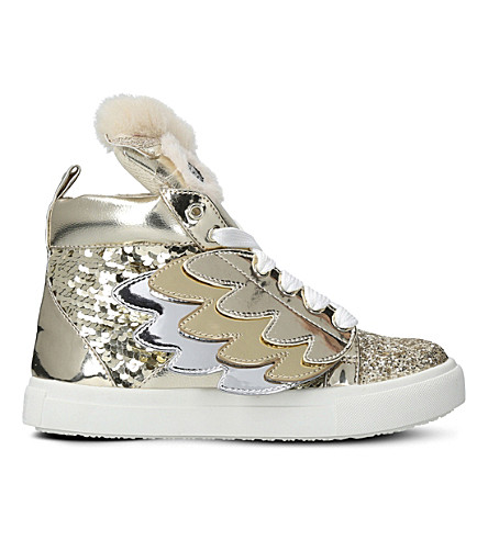 MINI MISS KG Twit Twoo sequin high-top trainers 7-10 years (Gold