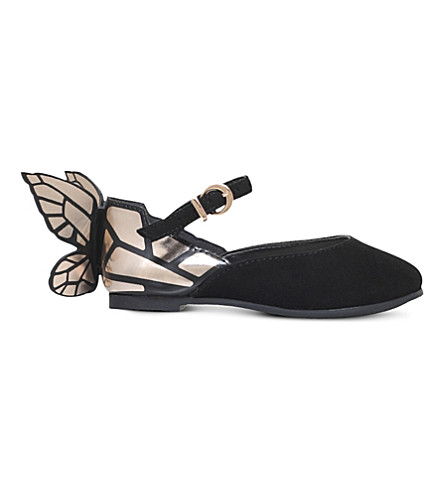 SOPHIA WEBSTER Chiara butterfly suede ballet flats 0-6 months (Black