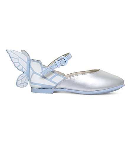 SOPHIA WEBSTER Chiara butterfly metallic ballet flats 0-6 months (Pale+blue