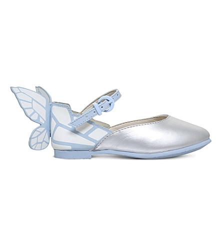 SOPHIA WEBSTER Chiara butterfly metallic ballet flats 2-8 years (Pale+blue