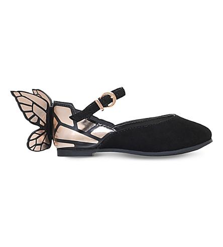 SOPHIA WEBSTER Chiara butterfly suede ballet flats 2-8 months (Black