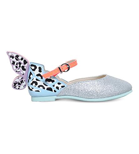 SOPHIA WEBSTER Chiara leopard glitter flats 2-8 years (Silver