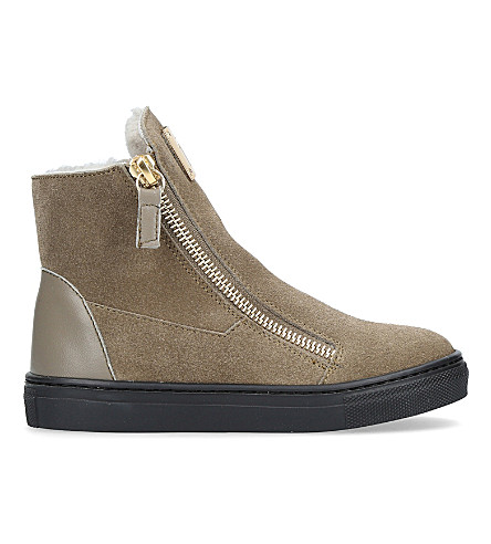 GIUSEPPE ZANOTTI Larry zipped suede trainers 4-8 years (Taupe