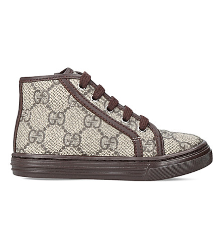 GUCCI California canvas and leather high-top trainers (Brown