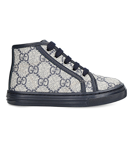GUCCI California canvas and leather high-top trainers 1-4 years (Navy