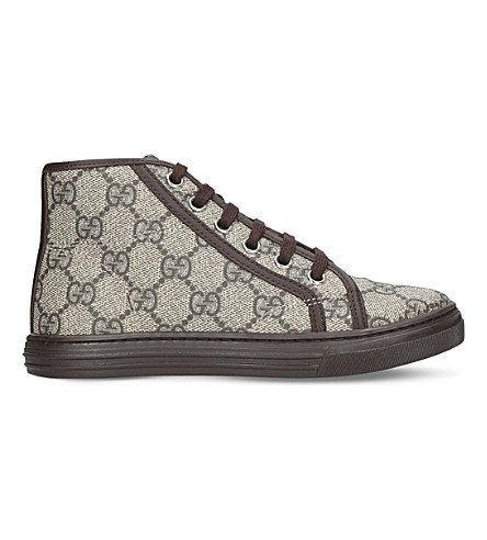 GUCCI California canvas and leather high-top trainers 5-8 years (Brown