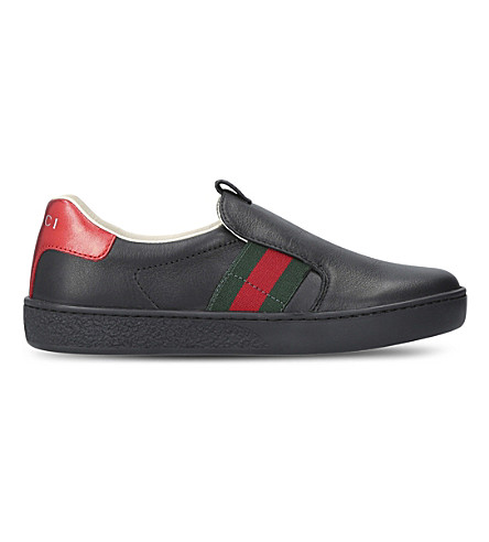 GUCCI New Ace slip-on leather trainers 5-8 years (Black