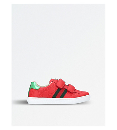 GUCCI New Ace VL logo-embossed leather trainers 5-8 years (Red