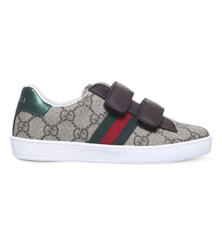 GUCCI New Ace GG-Supreme canvas low-top trainers (Brown