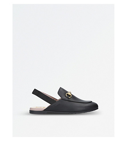 GUCCI Princetown leather slingback loafers 4-8 years (Black