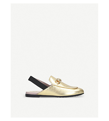 GUCCI Princetown metallic leather slingback loafers 4-8 years (Gold