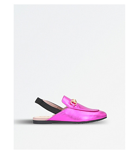 GUCCI Princetown leather slingback loafers (Pink