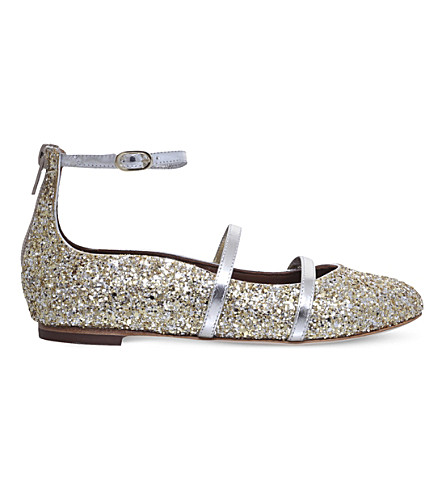 MALONE SOULIERS Robyn glitter leather flat shoes 4-8 years (Gold