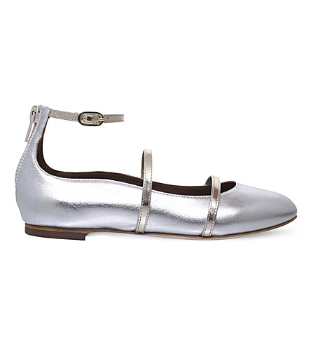 MALONE SOULIERS Robyn metallic leather flat shoes 4-8 years (Silver