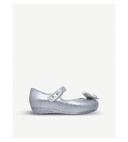MINI MELISSA Ultragirl silk bow detail glittered mary jane shoes 6 months - 5 years (Silver