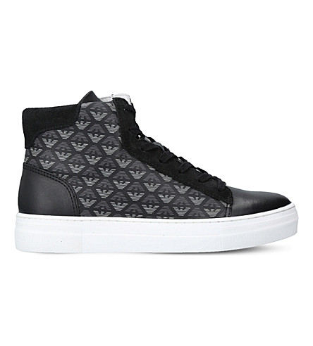 ARMANI Aaron leather high-top trainers 8-12 years (Black