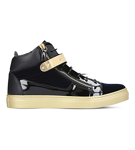 GIUSEPPE ZANOTTI Coby patent-leather and velvet trainers 8-12 years (Navy