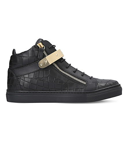 GIUSEPPE ZANOTTI Nicki croc-embossed leather trainers 8-12 years (Black