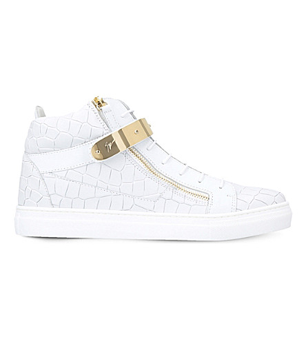 GIUSEPPE ZANOTTI Nicki croc-embossed leather trainers 8-12 years (White