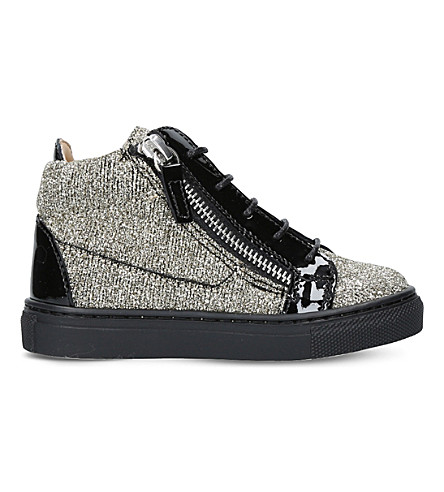 GIUSEPPE ZANOTTI Kriss glitter patent-leather trainers 6 months - 4 years (Gold+comb