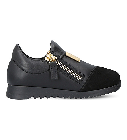 GIUSEPPE ZANOTTI Runner leather trainers 6 months - 4 years (Black