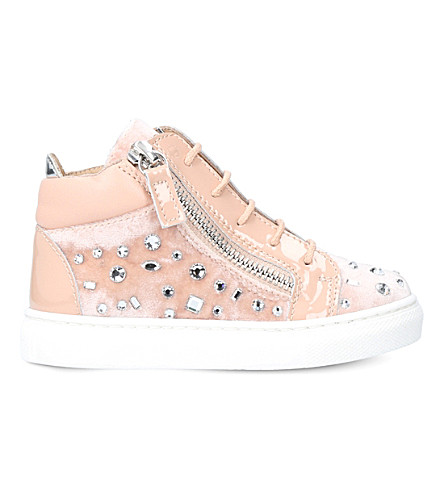 GIUSEPPE ZANOTTI Dazzling embellished velvet and patent-leather trainers 6 months - 4 years (Nude
