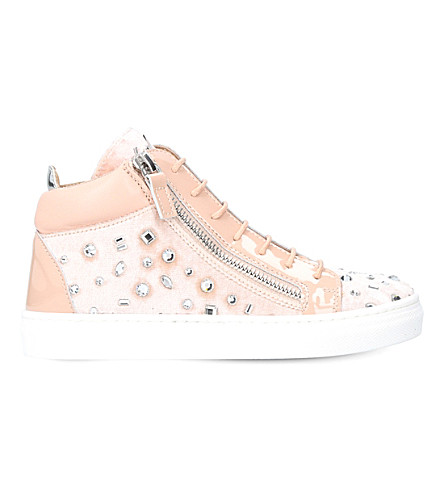 GIUSEPPE ZANOTTI Dazzling embellished velvet and patent-leather trainers 4-8 years (Nude