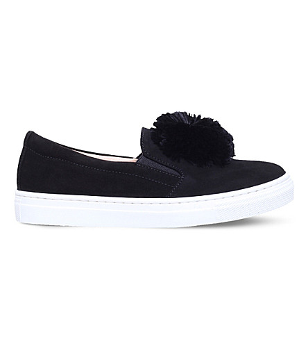 AQUAZZURA Powder Puff velvet slip-on shoes 6-8 years (Black