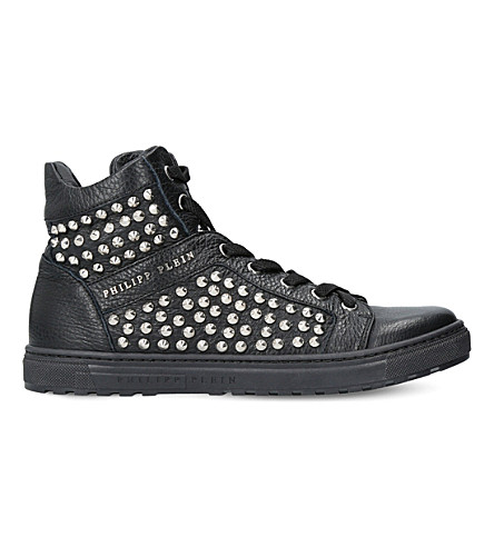 PHILIPP PLEIN Asher leather trainers (Black