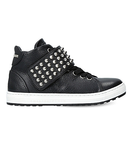 PHILIPP PLEIN Skyler leather trainers (Black