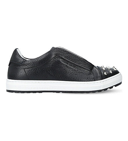 PHILIPP PLEIN Tom leather embellished trainers (Black