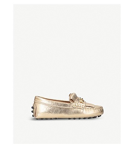 TODS Gommini leather driving shoes (Gold