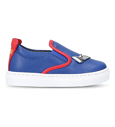 FENDI Monster Metal leather trainers 1-4 years (Blue