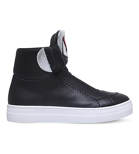FENDI Monster leather high-top trainers 6-9 years (Black