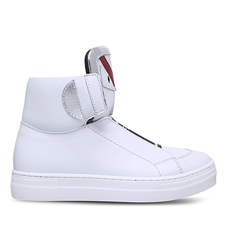 FENDI Monster leather high-top trainer 6-9 years (White