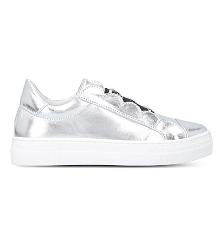 FENDI Scalloped metallic-leather trainers 3-5 years (Silver