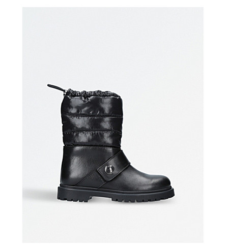 MONCLER Lea leather boots 6-11 years (Black