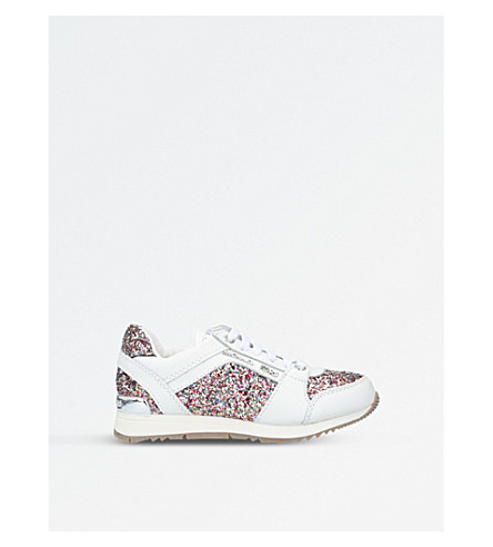 MICHAEL MICHAEL KORS Zia-Allie Cali-T leather glitter trainers 3-7 years (White/oth