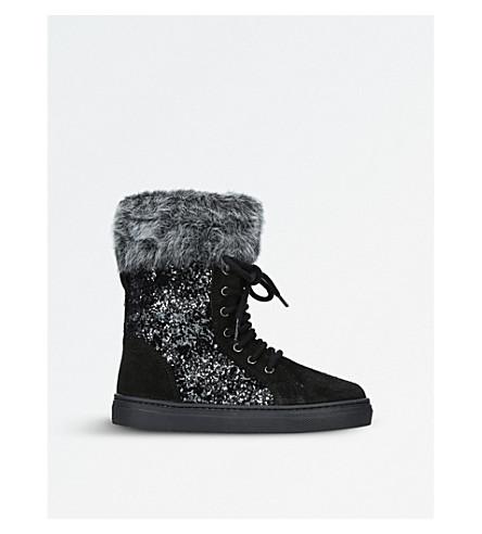STUART WEITZMAN Lola Glitter suede boots 3-7 years (Black