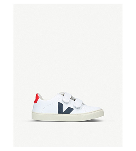 VEJA Esplar leather trainers 6-9 years (White/red