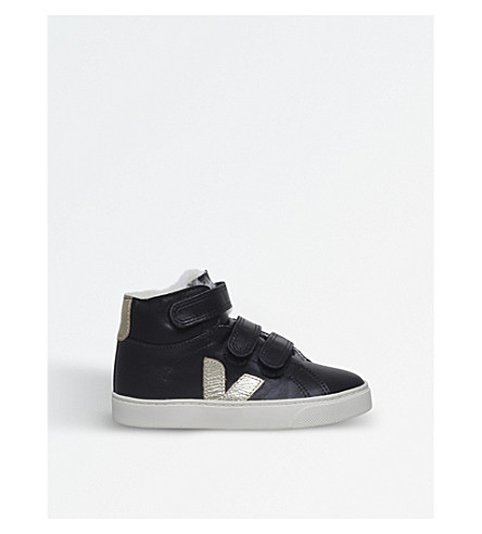 VEJA Esplar leather high-top trainers 2-5 years (Black