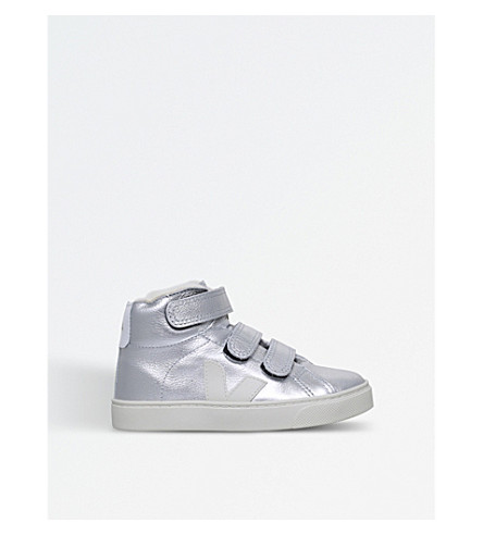 VEJA Esplar mid-top leather trainers 6-9 years (Silver