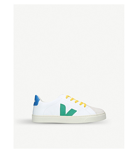 VEJA Esplar lace-up leather trainers 9-11 years (White/navy