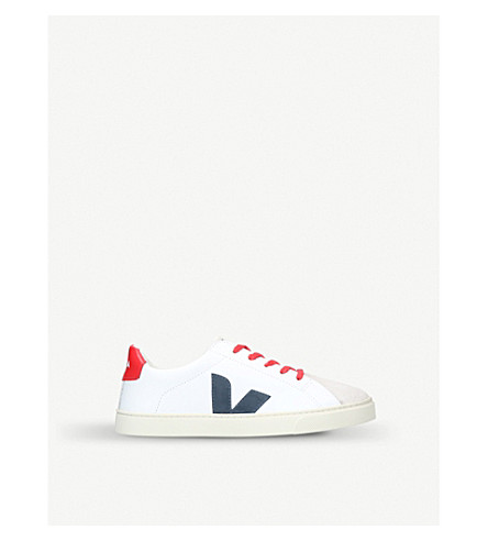 VEJA Esplar lace-up leather traienrs 9-11 years (White/comb