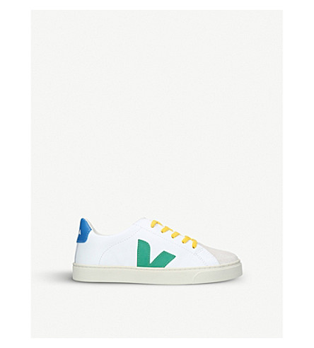 VEJA Esplar lace-up leather trainers 7-9 years (White/navy