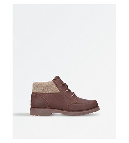 UGG欧林皮革和羊毛靴子 7-9 岁(深色 + 棕色